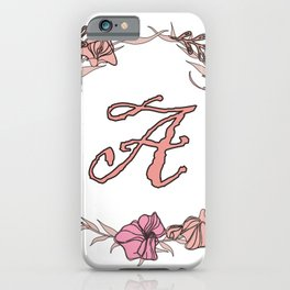 Letter A Rose Pink Initial Monogram - Letter a iPhone Case