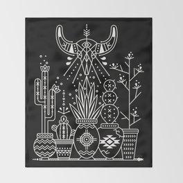 Santa Fe Garden – White Ink on Black Throw Blanket