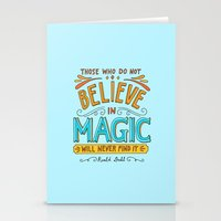 roald dahl Stationery Cards featuring Believe in Magic by Ella Lama