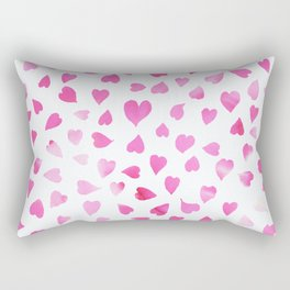 Blush pink hand painted watercolor valentine hearts Rectangular Pillow