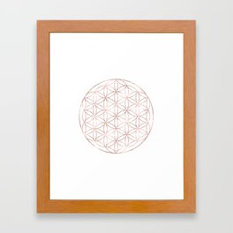 Mandala Rose Gold Flower of Life Framed Art Print