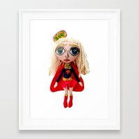 karu kara Framed Art Prints featuring Kara Zoe-El ~ Supergirl by Chiara Venice Art Dolls