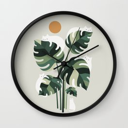 Cat and Plant 11 Wall Clock