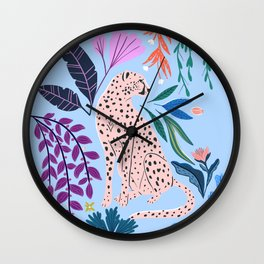 Blush pink Cheetah in jungle florals / jungle cat print /modern art Wall Clock
