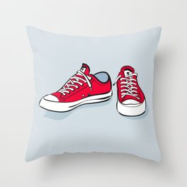 Red Sneakers Throw Pillow