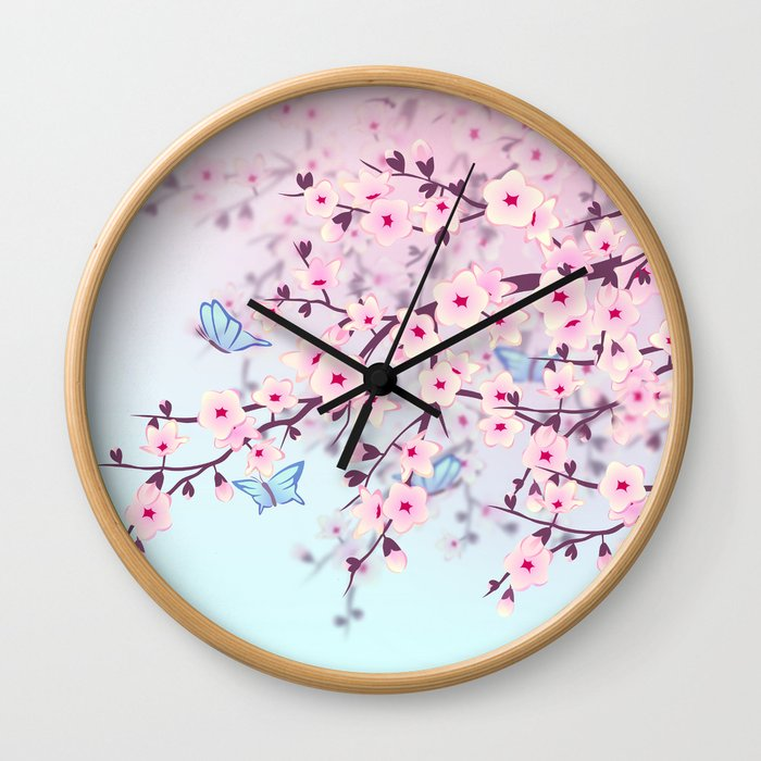 Cherry Blossom Landscape Wall Clock
