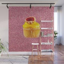 Cupcake Love   Lemon Cherry Pie on Pink Sparkle Wall Mural