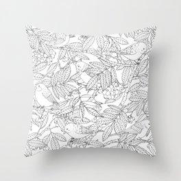 Birds on Rowan Tree Pattern Throw Pillow