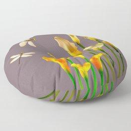 GOLD CALLA LILIES & DRAGONFLIES ON GREY Floor Pillow