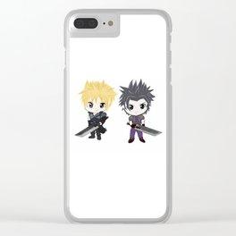 Cloud & Zack Final Fantasy chibi Clear iPhone Case