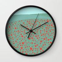 poppies Wall Clocks featuring Poppies by Anita Ivancenko