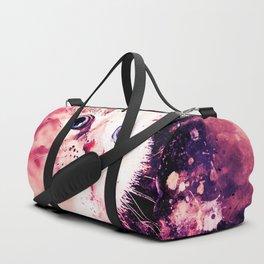 cute white stare gaze kitty splatter watercolor Duffle Bag