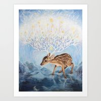 antlers Art Prints featuring Antlers by Lucy Yu { Artwork }