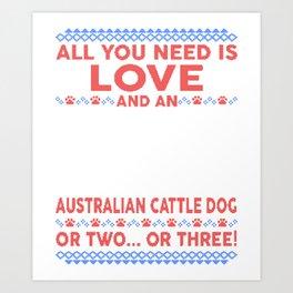Australian Cattle Dog Ugly Christmas Sweater Art Print