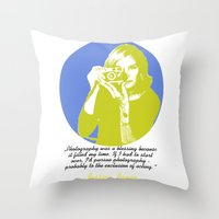 jessica lange Throw Pillows featuring Jessica Lange by BeeJL