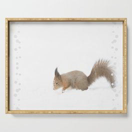 Little squirrel sitting in the snow #decor #society6 #buyart Serving Tray