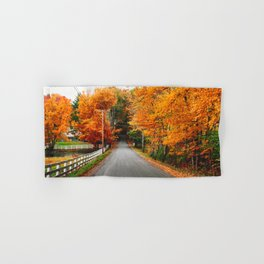 autumnal road in new england Hand & Bath Towel