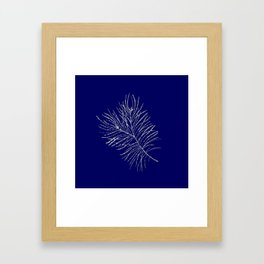 Large scale silver branches pattern indigo background Framed Art Print