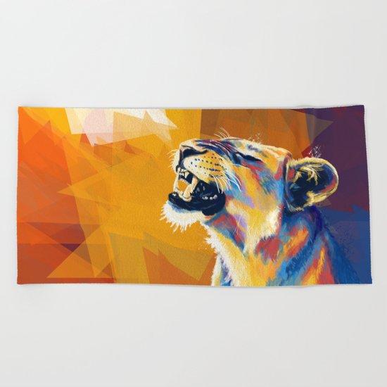 In the Sunlight - Lion portrait Beach Towel