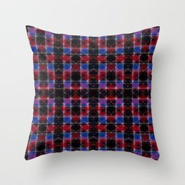 Cart Handle Semi-Plaid In Red, Pink, Blue, and Black Throw Pillow