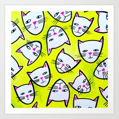Cat Heads Art Print