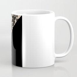 Elegant Peach Ivory Black Floral Lace Color Block Coffee Mug
