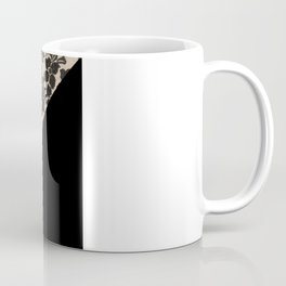 Elegant Peach Ivory Black Floral Lace Color Block Coffee Mug