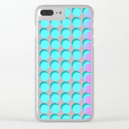 Pink & Aqua Spots on Taupe Clear iPhone Case