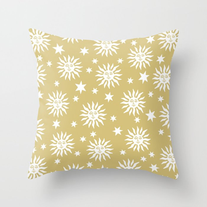 Mid Century Modern Sun and Star Pattern Gold Throw Pillow