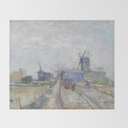 Montmartre - Windmills and Allotments by Vincent van Gogh Throw Blanket