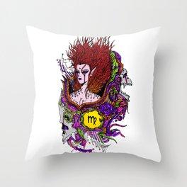 Virgo Skull Zodiac Sign For August and September Birth Day Gift Throw Pillow
