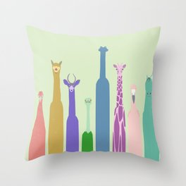 Long Neck Animals Throw Pillow