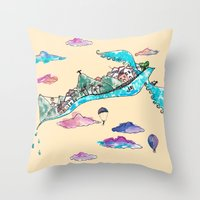 rio de janeiro Throw Pillows featuring Flying Rio de Janeiro by Marina Papi