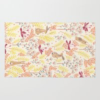 rabbits Area & Throw Rugs featuring rabbits field by Dao Linh