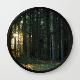 Golden Hour in the Woods Wall Clock