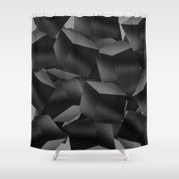 Black Fade Cubes Shower Curtain
