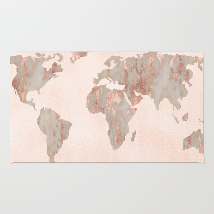 Rosegold marble map of the world rug by mapmaker society6 rosegold marble map of the world rug gumiabroncs Gallery