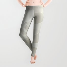 Golden Ratio, Neutral Circles Grid Abstract Leggings
