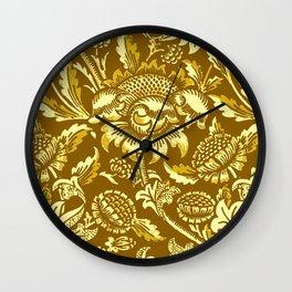 William Morris Sunflowers, Mustard and Golden Yellow Wall Clock