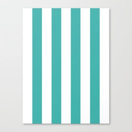 Vertical Stripes - White and Verdigris Canvas Print