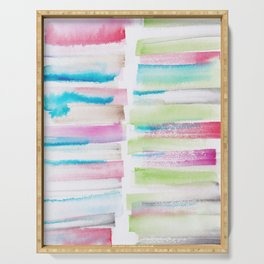 14   | 181101 Watercolour Palette Abstract Art | Lines | Stripes | Serving Tray