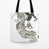 steam punk Tote Bags featuring Steam Punk Horse  by FlyingFrogIllustration