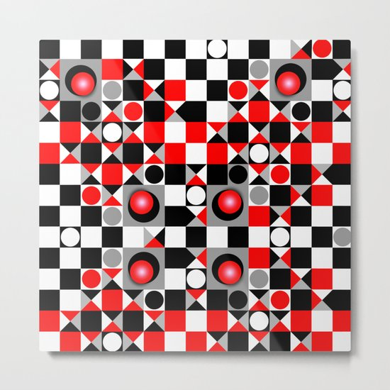 Cute Patterns in red, black and grey Metal Print