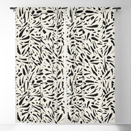 Bamboo Leaves in Black and Ivory / Ink Mood Blackout Curtain