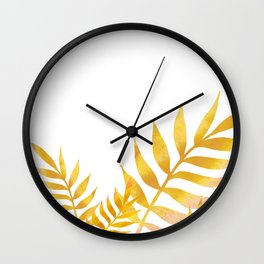 Golden watercolor leaves Wall Clock