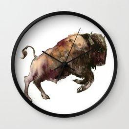Bison, Bull, animal woodland, bison art, wildlife design Wall Clock