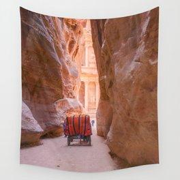 Carriage Ride through Petra Jordan toward the Treasury Wall Tapestry