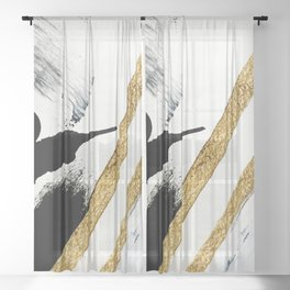 Armor [8]: a minimal abstract piece in black white and gold by Alyssa Hamilton Art Sheer Curtain