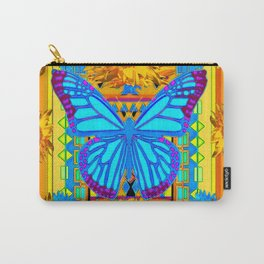 Lime Sunflower Blue Butterfly Floral Carry-All Pouch
