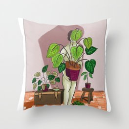 boys with love for plants illustration painting Throw Pillow